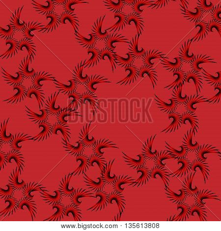 Texture for curtains. Black fishnet star on a red background