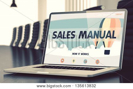 Sales Manual - Landing Page with Inscription on Mobile Computer Screen on Background of Comfortable Meeting Hall in Modern Office. Closeup View. Blurred Image with Selective focus. 3D Rendering.