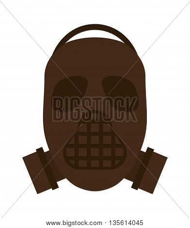 Armed forces concept represented by mask icon over isolated and flat background