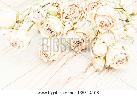 Withered rose on wooden background. Abstract holiday frame with dried roses on old wooden plates