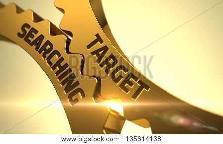 Target Searching - Illustration with Glowing Light Effect. Target Searching on the Mechanism of Golden Metallic Cog Gears with Glow Effect. Target Searching Golden Cog Gears. 3D Render.