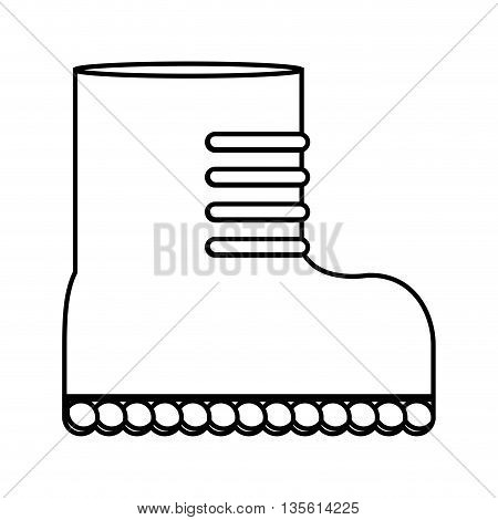 Armed forces concept represented by boot icon over isolated and flat background