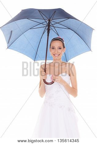 Attractive pretty bride woman in white wedding dress holding blue umbrella. Happy smiling young girl during raining day isolated on white background.