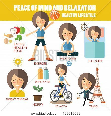 peace mine and relaxation.healthy lifestyle eps 10 format
