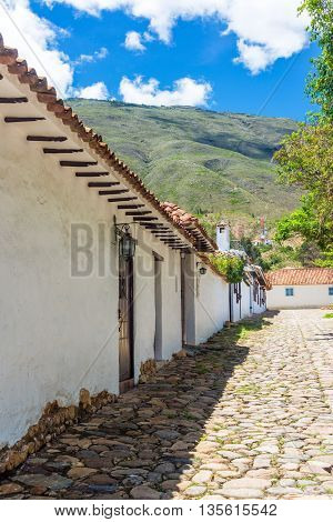 Colonial Street And Cobblestone