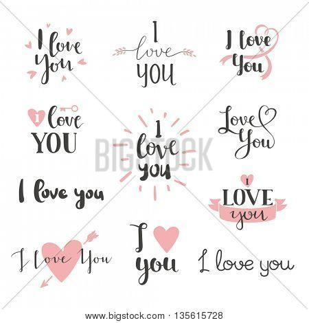 I love You vector set