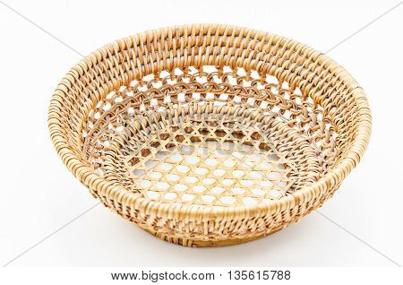 The Wooden Basket isolated on white background