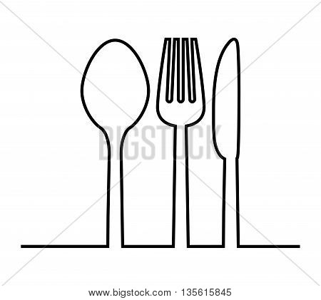 Cutlery and menu concept represented by fork, knife and spoon icon over isolated and flat background