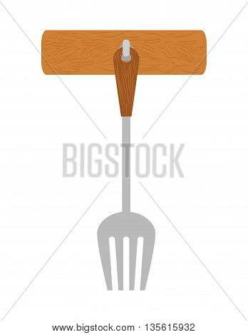 Cutlery and menu concept represented by fork icon over isolated and flat background