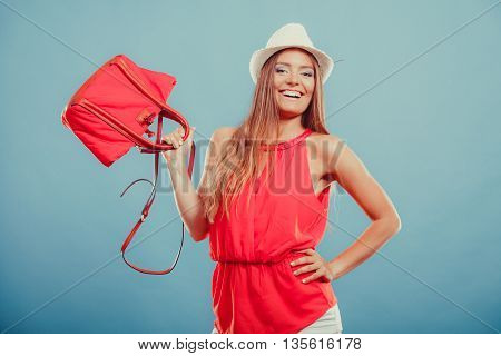 Fashion Woman In Hat And Red Shirt With Handbag.
