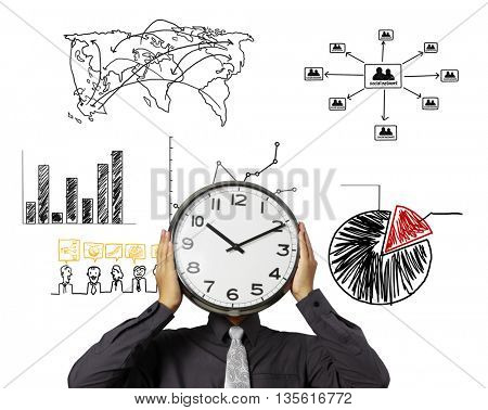 Businessman is holding clock in front of head