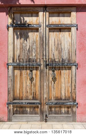 Old Wooden Door With Oriental Door Handles