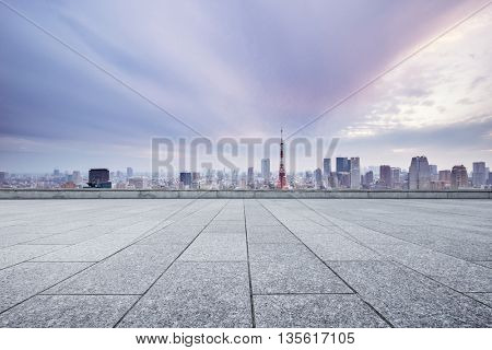 skyline and cityscape of tokyo in romance sky on view from empty street