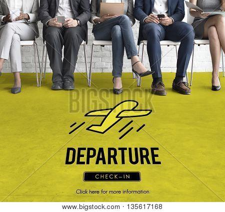Departure Plane Check In Travel Concept