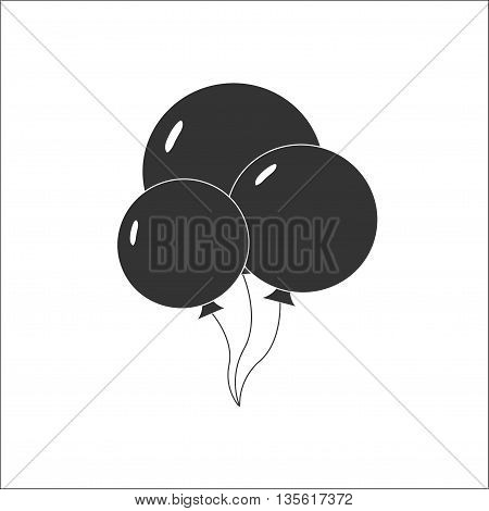 Balloon icon vector. Black and white. 3 balloons.