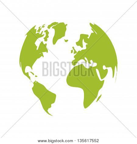 Think green concept represented by green planet icon over isolated and flat background