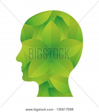 Think green concept represented by human head icon over isolated and flat background