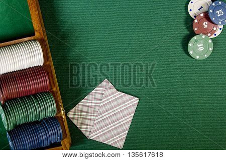 Cards with poker hand with chips on a green background