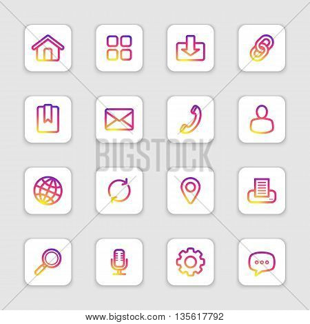colorful smooth gradient line web icon set on white rounded rectangle with soft shadow for web design user interface (UI) infographic and mobile application (apps)