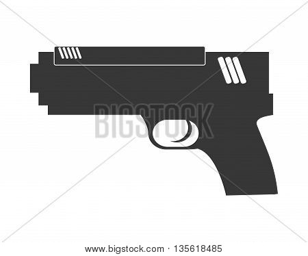 Justice and law represented by gun over isolated and flat background