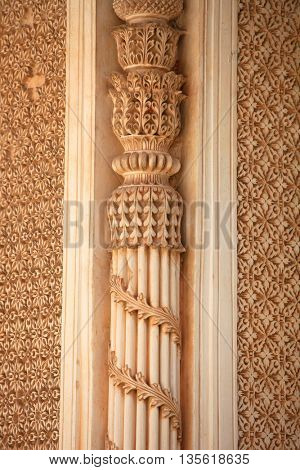 Intricate architecture on historic Paigah tombs in India