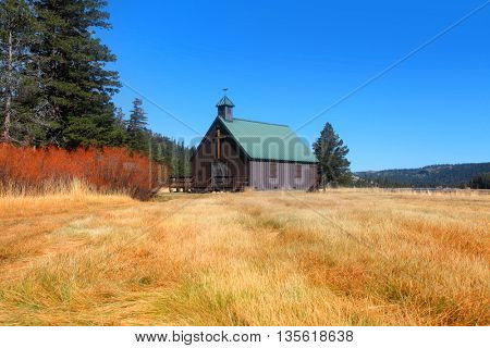 Small chapel in prairies of California