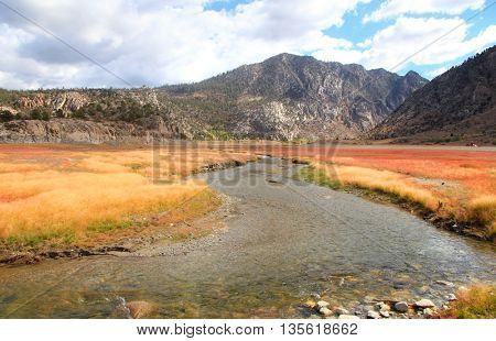 Rush creek near Grant lake in Sierra Nevada mountains