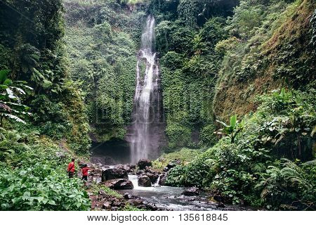 Huge active waterfall in green tropical mountain forest with people watching its flow in Bali.