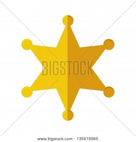 Justice and law represented by gold star over isolated and flat background