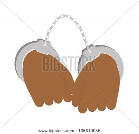 Justice and law represented by handcuffs menu over isolated and flat background