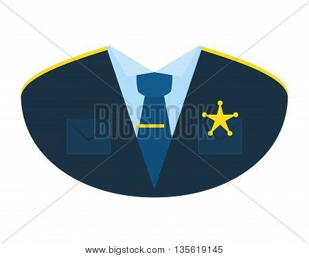 Justice and law represented by policeman uniform over isolated and flat background