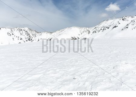 Rocks On The Snow Covered Mountain Under Blue Sky