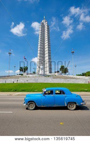 HAVANA,CUBA - JUNE 21,2015 : Old american car in front of the Revolution Square in Havana