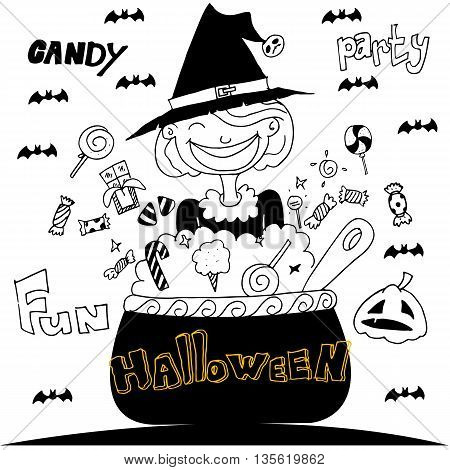 Cute Witch Halloween with hand draw vector illustration