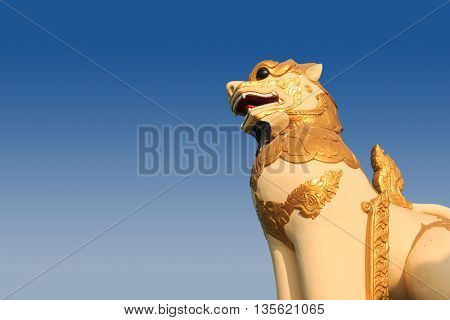Myanmar Lion Statue. Singh Statue In A Temple In Myanmay. Lion Buddhist Temple In Myanmar.