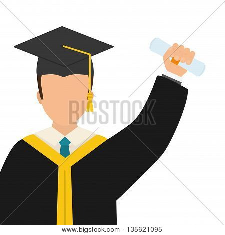 Graduation and University concept represented by Bachelor boy icon over flat and isolated background