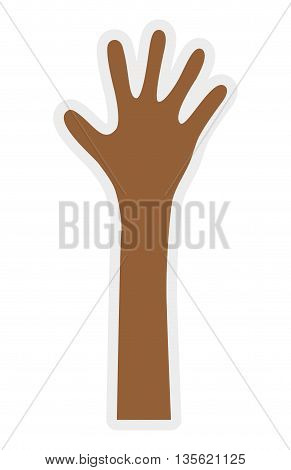 Hand concept represented by palm icon over flat and isolated background
