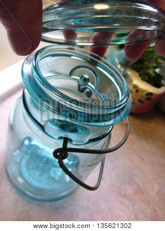 Old Blue Home Canning Jar With Bale