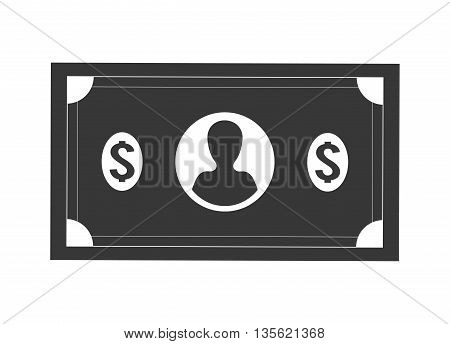 Money concept represented by bill icon over flat and isolated background