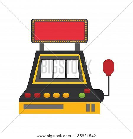 Casino and las vegas concept represented by slot machine icon over flat and isolated background