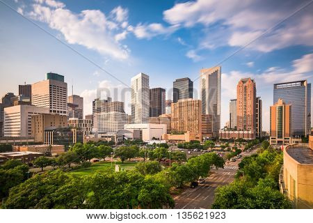 Houston, Texas, USA downtown city park and skyline.