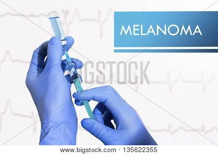 Stop melanoma. Syringe is filled with injection. Syringe and vaccine
