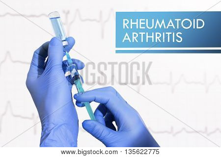 Stop rheumatoid arthritis. Syringe is filled with injection. Syringe and vaccine
