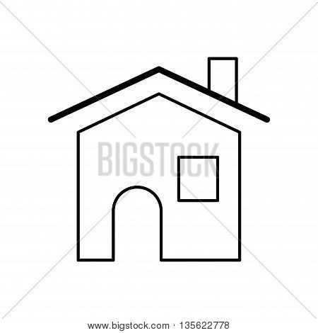 Home concept represented by house with window icon over flat and isolated background