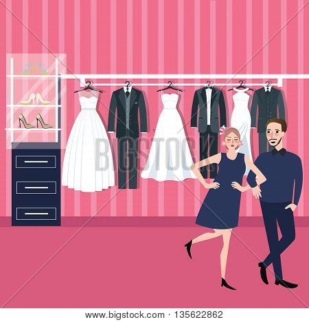couple man woman select wedding dress in bridal store fitting dresses vector