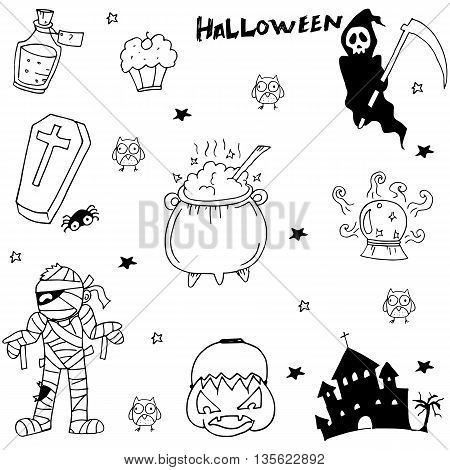 Scary character Halloween in doodle with hand draw