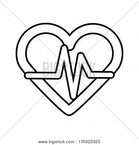 Medical cand Heatlh care concept represented by heart icon over flat and isolated background