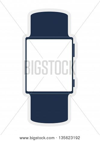 Gadget and technology concept represented by watch icon over flat and isolated background