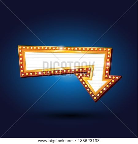 Electric bulbs billboard. Retro arrow light frames. vector illustration.