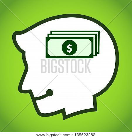 Vector stock of human head silhouette with money dollar symbol inside